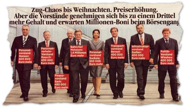 Den Börsengang des deutschen Staatskonzerns Bahn wollen sich die Vorstands-Manager gut bezahlen lassen.
