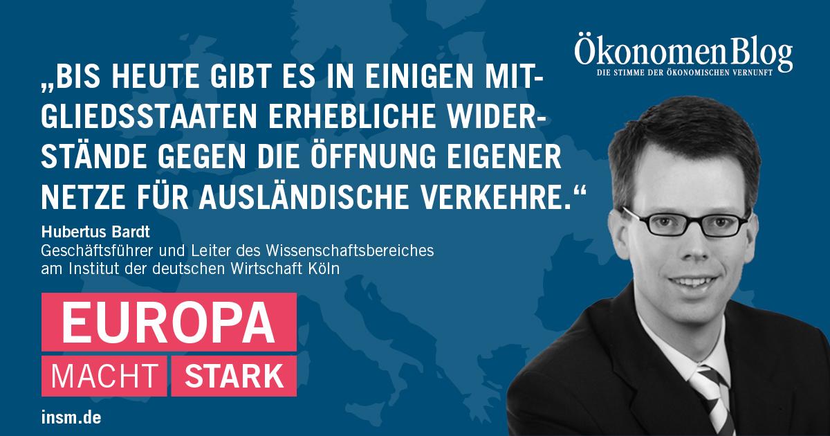 Hubertus Bardt, IW Köln: Bis heute gibt es in einigen Mitgliedsstaaten erhebliche Widerstände gegen die Öffnung eigener Netze für ausländische Verkehre.